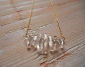 Claer Quartz Stone Necklace - Quartz Nugget Necklace