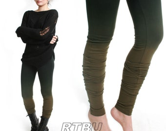 Mega Long Slouch Gathered Ruched Punk Dip Dye Smoke Green Ombre Cotton Legging Tights