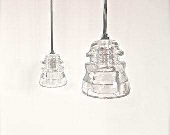 Clear Antique Insulator Hanging Pendant lamp