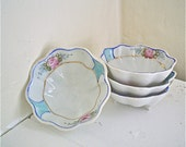 Nippon Salt Cellars or Nut Bowls Vintage Blue with Pink Roses Set of Four