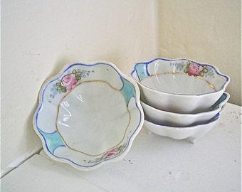 Nippon Salt Cellars or Nut Bowls Vintage Salt Dips Blue with Pink Roses Set of Four