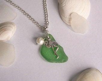 Flamingo necklace. Green sea glass necklace. Beach glass jewelry,