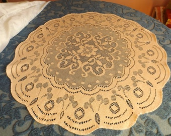 "Sale  NEW old stock light orange(pastel) reversible lace  table napkin,doily.25.5""in diameter.centerpiece Gift"