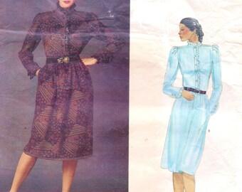 1980s Emanuel Ungaro Womens Dress with High Collar and Ruffles Vogue Paris Original Sewing Pattern 2734 Size 12 Bust 34 UnCut