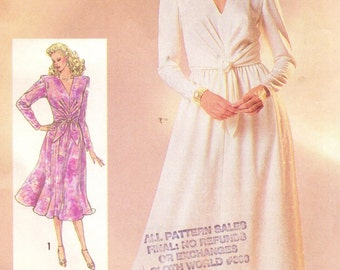 80s Womens Semi-Fitted Dress in 2 Lengths Simplicity Sewing Pattern 7847 Size 14 Bust 36 UnCut Mother of the Bride