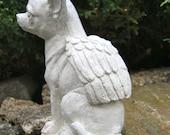 Chihuahua Dog Angel, White Concrete Garden Statue, Cement Pet Memorial