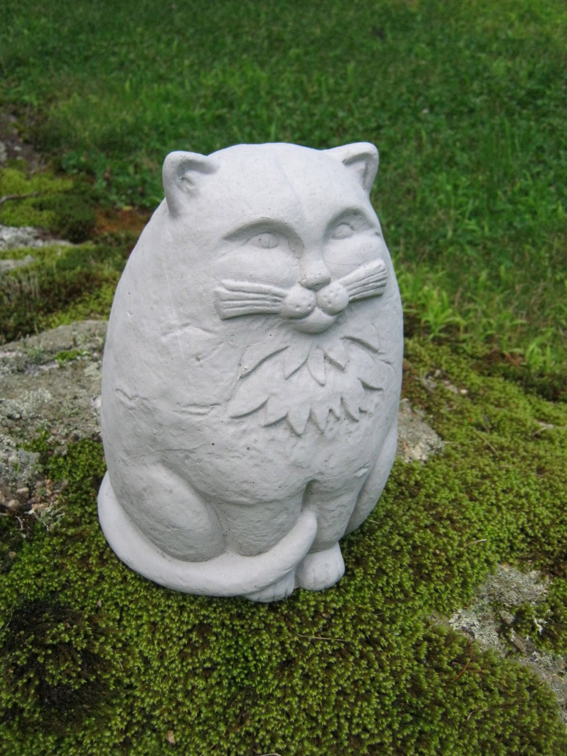 Cat statue large concrete garden cats cement by for Cat yard art