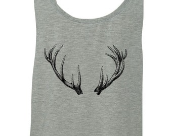 Ladies Antlers Crop Top - screen printed illustration