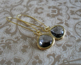CHARCOAL GREY Glass Drop EARRINGS / Faceted Glass / Gold / Framed Glass / Dangle / Bridesmaid Earrings / Bridal / Simple  / Gift boxed