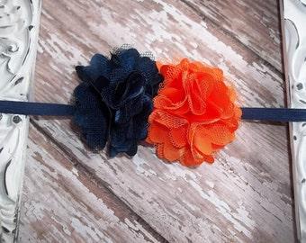 Navy Blue and Orange Double Flower Elastic Headband Babies Toddlers, Girls