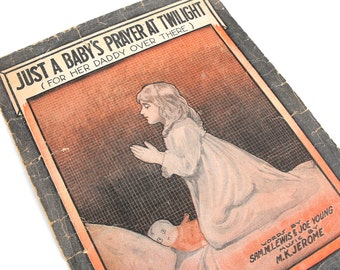 "1918 Barbelle Art Sheet Music ""Just a Baby's Prayer At Twilight For Her Daddy Over There Antique WWI Orange Black Creepy Doll Haunting Decor"