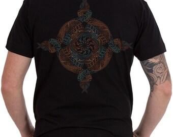 Mens T-shirt Mandala Printed Shirt - Psychedelic t shirt  Small - Medium - Large - Extra large