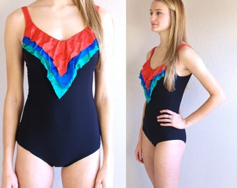 vtg 80s black RAINBOW RUFFLE chevron SWIMSUIT retro xs/s bathing suit swimwear one piece