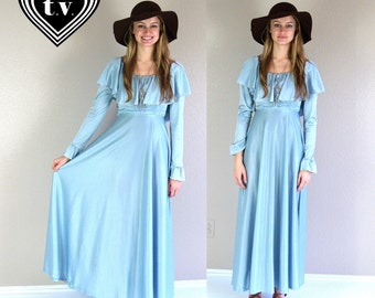 vtg 60s ice blue RUFFLE full skirt MAXI DRESS xs/s open back grecian disco gown flowy