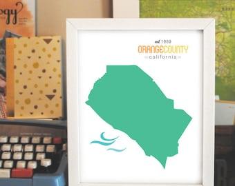 PRINTABLE ORANGE COUNTY Art // Orange County, Calif. Poster // 8x10 // Instant Download!