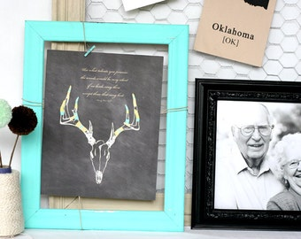 paint and glitter antlers with deer skull, handdrawn chalk art print : 8x10