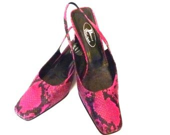 1980s Pink Sling Backs  Pink and Black Shoes Square Toe Shoes Snakeskin Shoes Vintage 80s Shoes Leather Slingback Shoes Size 9B