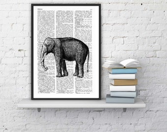 Summer Sale Elephant Dictionary Book Print  Altered art on upcycled book pages ANI085