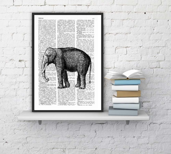 Christmas Sale Elephant Dictionary Book Print  Altered art on upcycled book pages ANI085