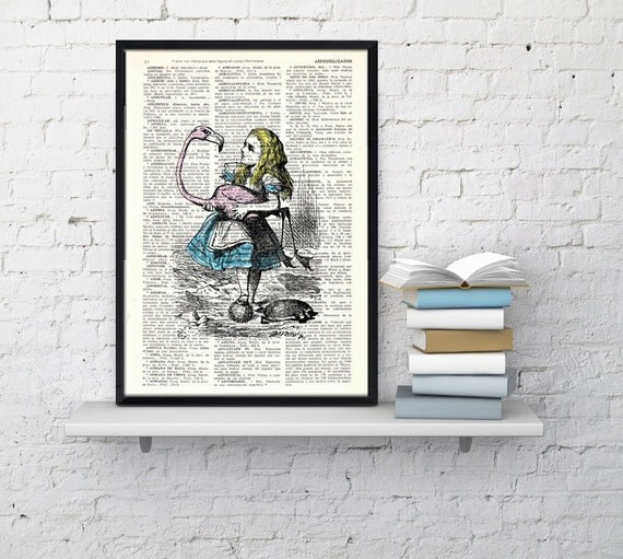 Summer Sale Vintage Book Print Alice in Wonderland  Alice and the flamingo Print on Vintage Dictionary Book art ALW005