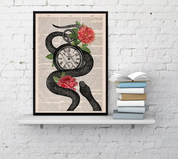 Book print Upcycled art dictionary book Snake Clock With Roses print on Vintage Dictionary Book art BPBB113