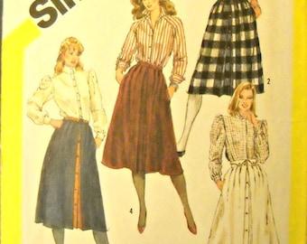 Simplicity 6081 Skirt Pattern, Size 10,  Vintage 1983