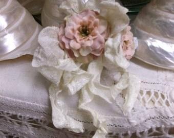 Pink Flower Barrette With Ivory Crinkled Ribbon