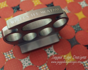 """Custom Engraved """"Brass Knuckle"""" Style Meat Tenderizer 