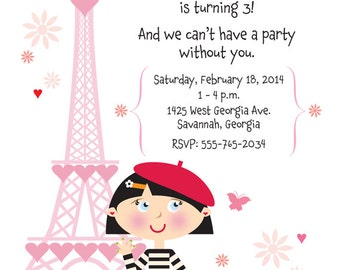 French Birthday Party Invitation for Girls