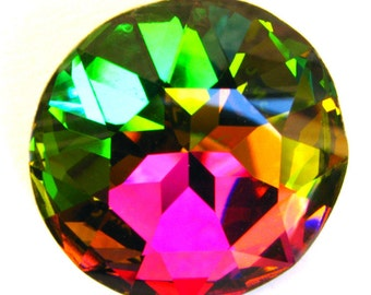 VITRAIL MEDIUM - Large Rainbow Vitrail Green Round Chaton Rose Cut Shape Crystal - 28mm Jewelry Supplies