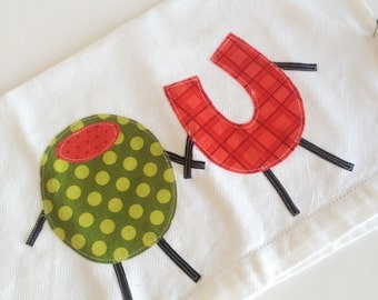 I Love You Olive Kitchen Towel. Second Anniversary Gift. Valentine's Day Gift.