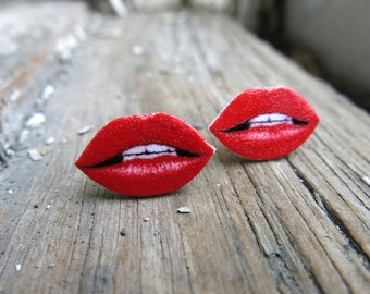 Lip Earrings Jewelry Valentine's Day Statement Red Hot Lips Stud Post Fun Kitschy Kitsch Gift For Her Best Friend Quirky Present Fun Geekery