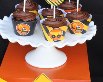 DIY Construction Zone Birthday Party  PRINTABLE Cupcake Toppers  dump truck tools cupcake express