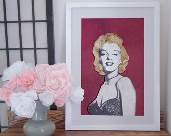Marilyn Monroe Paper Art Print, Old Hollywood Glamor poster, Paper Quilling and Etching Illustration Poster, Marilyn Monroe Poster Wall art