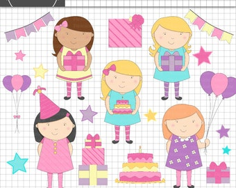 Birthday Clipart, Girl Party Clip Art, Little Girl Clipart Set, Instant Download, Commercial Use