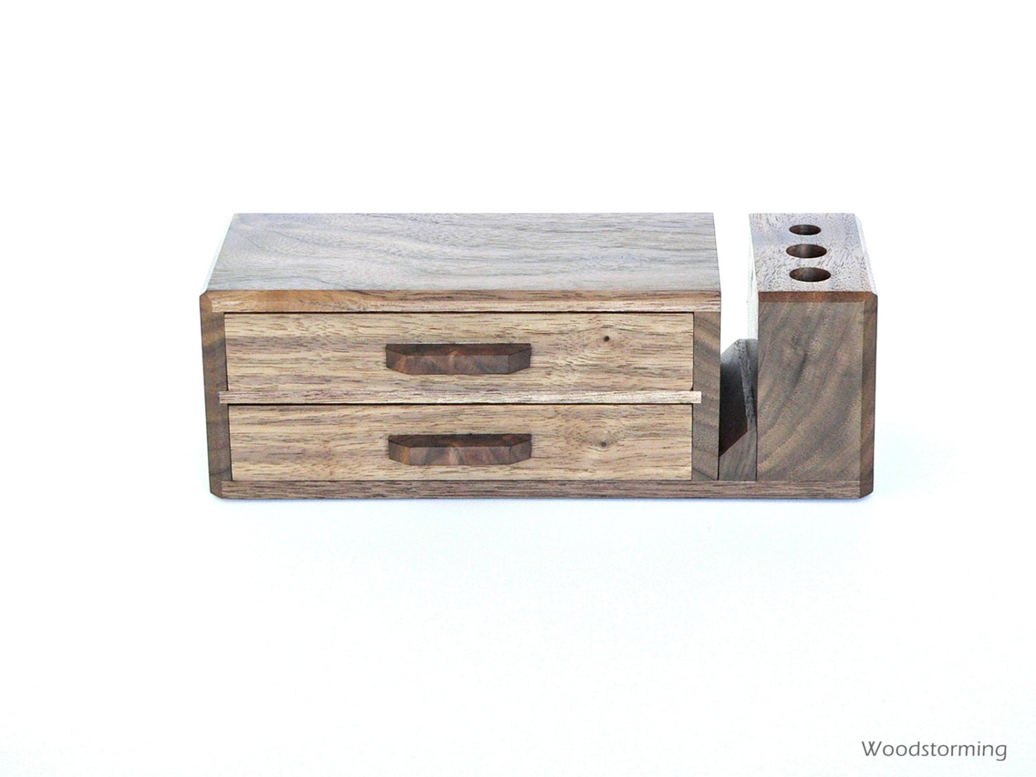 Wooden desk organizer with 2 drawers home office - Wood desk organizer ...
