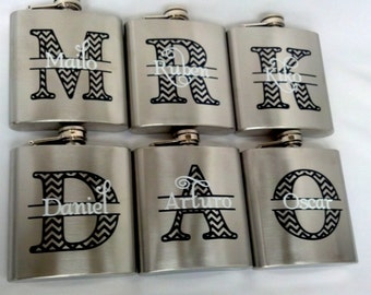 6 flasks, Groomsman flasks, 6 ounce, stainless steel personalized flask.  Bridesmaid and Maid of honor gift.  Chevron monogram and name