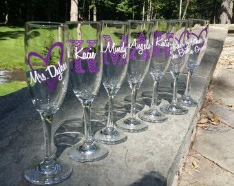 Chevron monogram bridesmaid glass, Champagne glass with monogram and name.  Bridesmaid gift idea, Maid of Honor gift idea. Matron of honor