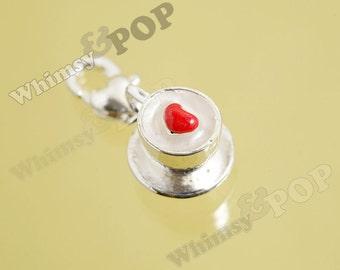 1 - 3D Silver Plated Cappuccino Coffee Mug Cup Heart Kawaii Foodie Charm, Coffee Charm, 12mm x 10mm (2-6H)