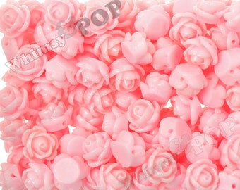 Pink Rose Beads, Flower Beads, Drilled Flowers, 9mm Flower Beads, Tiny Flower Beads, 1mm Hole (R6-169)