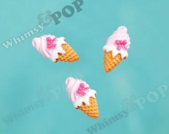 5 - Ice Cream Cabochons, Kawaii Ice Cream Cone Pink Bow Swirl Deco Resin Flatback Cabochons, Ice Cream Cabochon, 12mm x 23mm (R6-002)