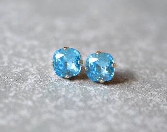 Aquamarine Rounded Square Blue Swarovski Crystal Stud Earrings Aqua Post Earrings Mashugana