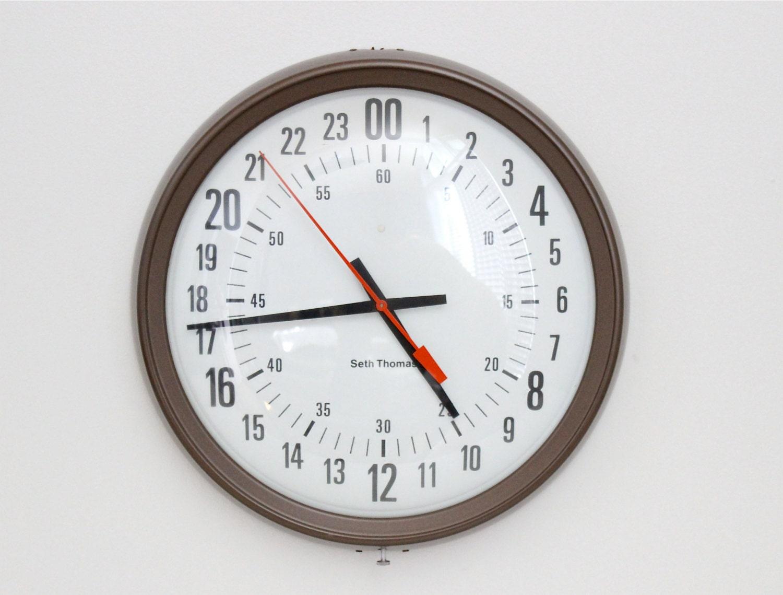 Seth Thomas Military Wall Clock Mid Century Modern Industrial