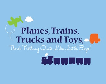 Planes, Trains, Trucks and Toys - vinyl wall decal