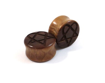 """Heartagram Lignum Vitae Wooden Plugs - PAIR- 2g 6.5mm 0g 8mm 00g 9mm 10mm 7/16"""" 11mm 1/2"""" 13mm 9/16"""" 14mm 5/8"""" 16mm and up Wood Ear Gauges"""