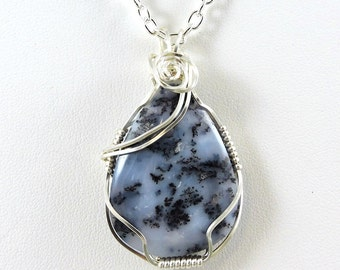 Wire Wrapped Dendrite Agate Necklace, Blue Gemstone Necklace, Agate Jewelry, Wire Wrapped Agate