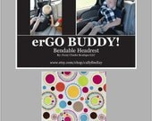 Travel Pillow for Kids and Adults erGO BUDDY Bendable headrest carseat pillow and cover in Bright Girlie Dots