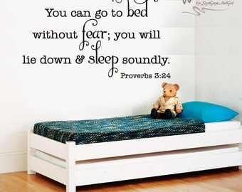 Nursery Wall Decal, Child Room Decal, Proverbs go to bed...