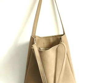 Leather Bag - Leather tote - leather bags - tote bag - Everyday tote - Italian leather - Beige leather bag
