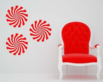 Candy Decor, Christmas Decor, Christmas Decorations, Unique Decor, Wall Decal, Starlight Mint, Peppermint Candy, Candies, Swirls, Star Light